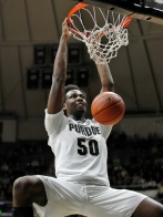 Purdue's Caleb Swanigan dunk against Northwestern Ohio during an NCAA college basketball exhibition game Sunday, Nov. 8, 2015, in West Lafayette, Ind. (John Terhune/Journal & Courier via AP) MANDATORY CREDIT; NO SALES; TV OUT; RADIO OUT; LOCAL INTERNET OUT